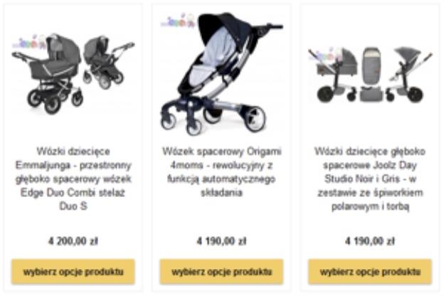 Wózki w sklepie internetowym