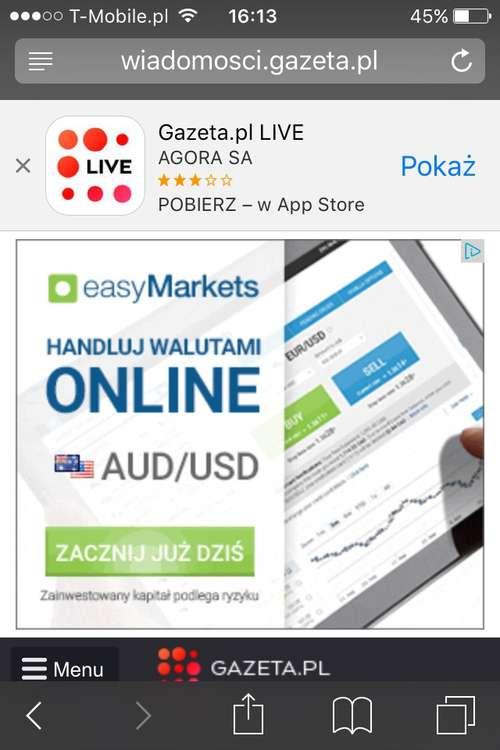 Reklama na mobilnej stronie gazeta.pl